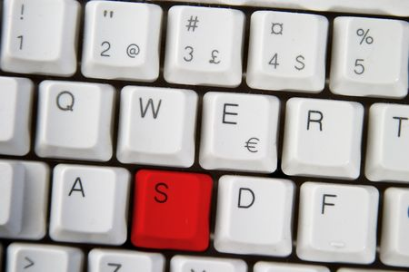 Isolated letter S on from a computer desktop keyboard highlighted in RED Stock Photo - 280497