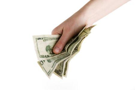 recibo: Una mano llena de dinero en efectivo en Am�rica Foto de archivo