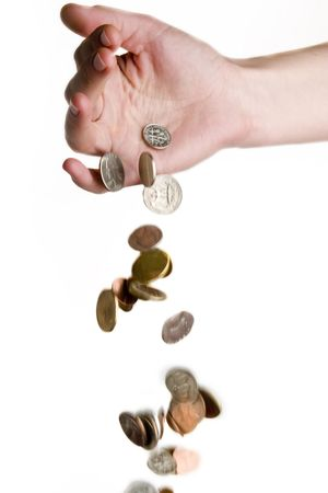 recieve: A hand dropping coins