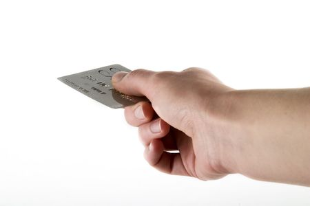 recieve: Paying with a credit card, over a white background