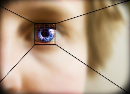 retina: Digital retina scan of a blue eyed woman