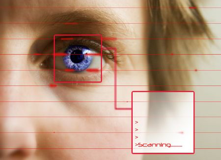 retina: Red lines scanning the face and retina of a woman with the word Scanning... in a text box