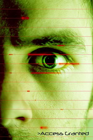 An iris scan concept image of a male with a few days beard growth (in techno green color) with the words Access Granted