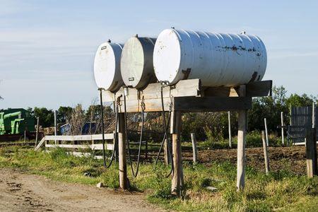 Fuel tanks on a prairie farm yard photo