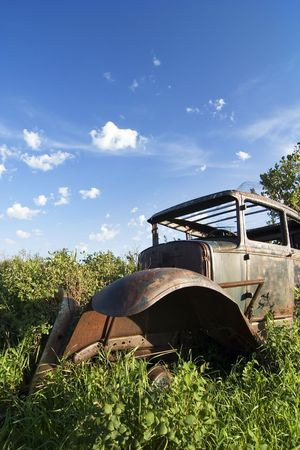 over grown: An old car sitting on the prairie forgotten and overgrown with bushes. Stock Photo