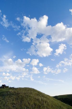 A prairie landscape with large sky. photo