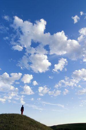 Un paisaje de la pradera con gran cielo y una persona caminando en la hierba.  Foto de archivo - 310352