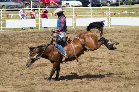 Saddle Bronc riding a small town rodeo Stock Photo - 310315