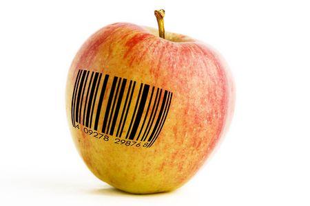 modificar: Una sola manzana con un c�digo de barras, modificados gen�ticamente concepto de imagen.
