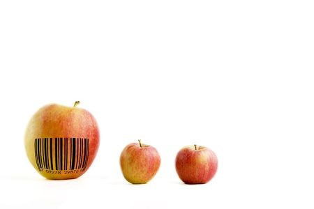 genetically modified organisms: A genetically modified extra large apple with a generic bar code
