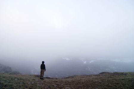 amaze: Walk in the fog Stock Photo