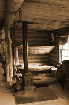 provincial: Trading post at the Cypress Hills Provincial Park in sepia tone Stock Photo