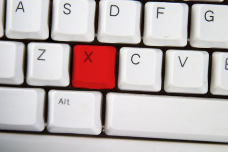 Isolated letter X on from a computer desktop keyboard highlighted in red Stock Photo - 313520