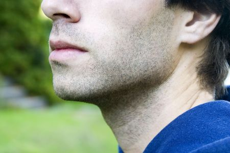 The mouth of a male with slight stubble Stock Photo - 334594