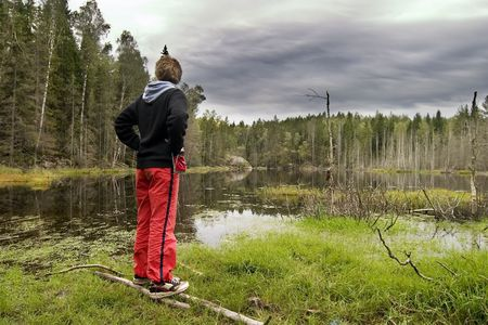 Dead trees and other living things in a marsh near Oslo, Norway with a person overlooking the water Stock Photo - 334595