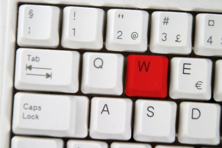 Isolated letter W on from a computer desktop keyboard highlighted in RED Stock Photo - 331677