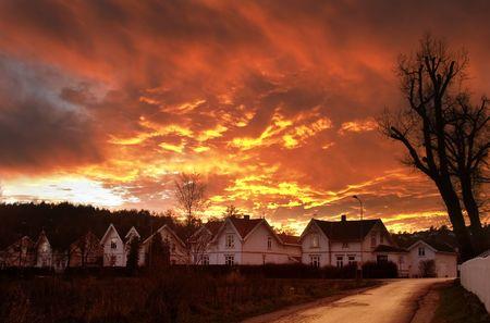 fredrikstad: Dramatic sundown in Fredrikstad Norway.