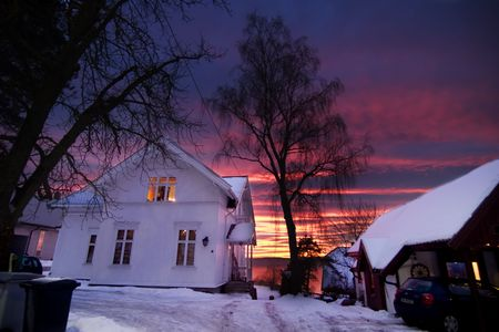 A house in Oslo, Norway at sunset photo