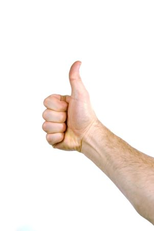 The hand of a man holding a thumb up photo