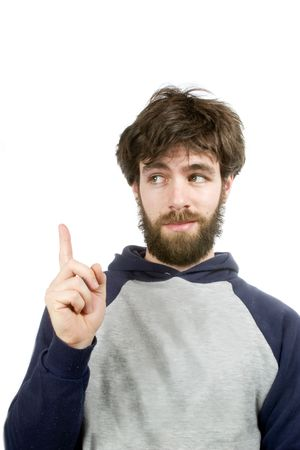 A young humorous bearded male, with a good idea. Stock Photo - 334597
