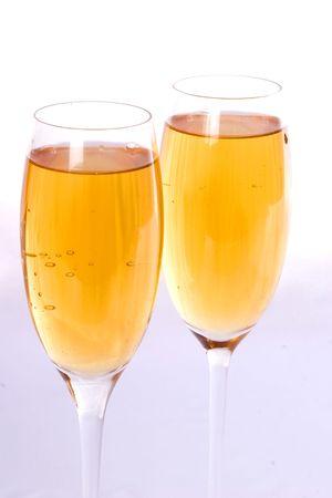 skiny: champagne glasses isolated on white Stock Photo