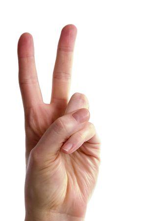 show of hands: Un adulto di sesso femminile mano due dita fino diffondersi oltre. Rendere la lettera V nel linguaggio dei segni, la vittoria, o simbolo di pace. Include.
