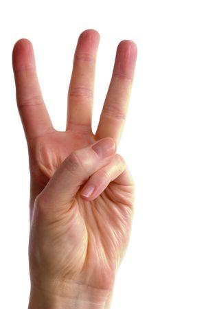 comunicacion no verbal: Una parte de mujeres adultas la celebraci�n de tres dedos en el aire apartadas, (con)