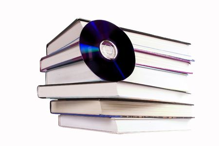 ebook cover: A stack of books with a cd.  A concept image for digital books Stock Photo