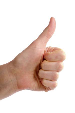 comunicacion no verbal: Una parte de mujeres adultas la celebraci�n de su dedo pulgar en el aire. Visto desde el lateral,  Foto de archivo