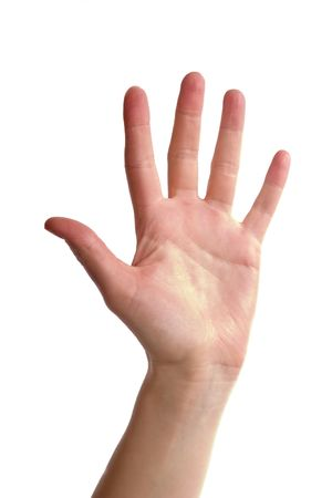 verbal communication: An adult female hand holding up five fingers spread apart. Image includes . Stock Photo