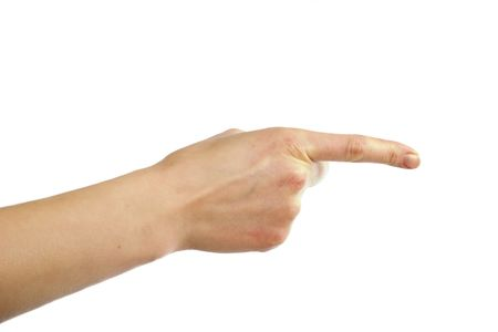 includes: An adult female hand pointing. Image includes .