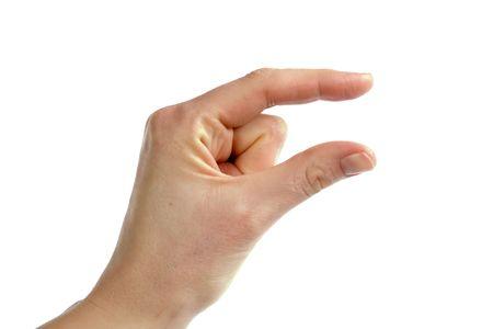 comunicacion no verbal: Una mujer adulta mano transmitir el mensaje de algo peque�o. Imagen incluye.