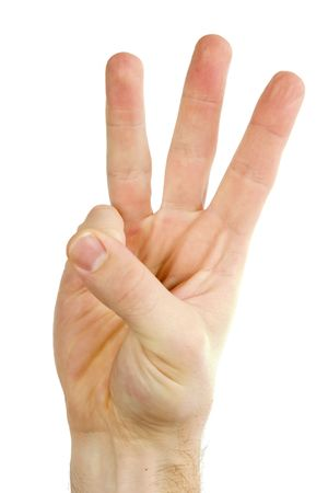 tripple: Three fingers on a male hand being held in the air. Isolated on white with .