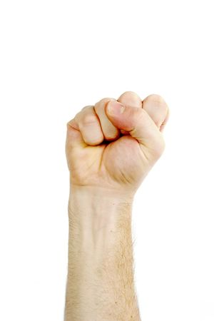 revolt: A male fist in the air isolated on white with .