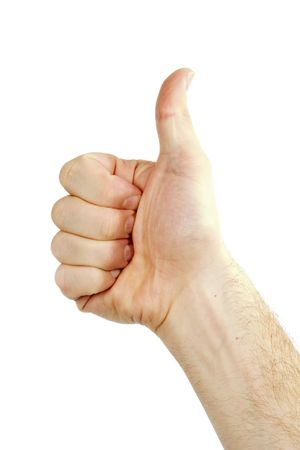 nonverbal: A thumbs up sign from a male hand. Isolated on white with .
