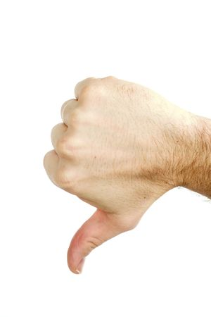 nonverbal: A thumbs down sign from a male hand. Isolated on white with .