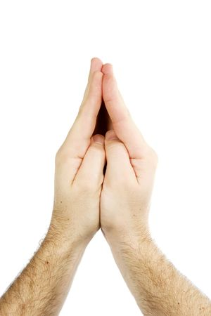 nonverbal: Praying male hands isolated on white with . Stock Photo