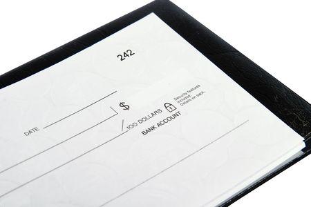 dinero falso: Un check en blanco sobre blanco aisladas con.