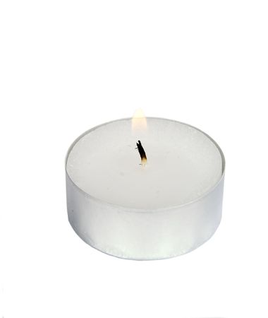 curare teneramente: Un t� luce isolato su bianco