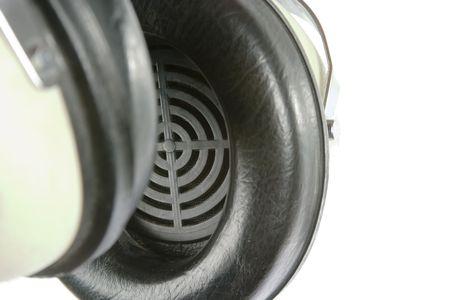 noise isolation: Retro headphones isolated on white