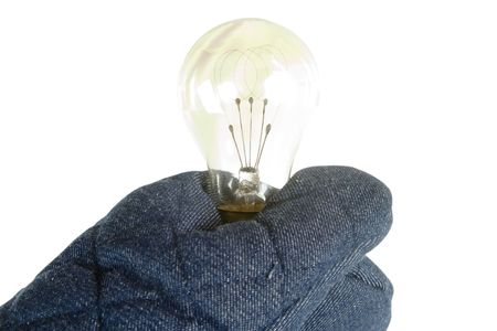 isolation tank: A light bulb being held by an oven mitt.  Isolated on white
