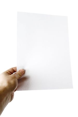 none: A males hand holding up a white paper with nothing on it (put on your own text or image or leave as blank).  Isolated on white.
