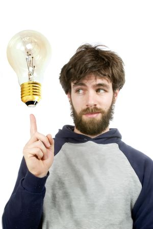 A young humorous bearded male, with a good idea. Stock Photo - 342763