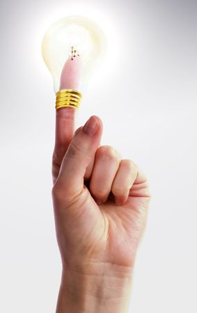 A hand holding up one finger with a light bulb on top of it.  Good Idea Stock Photo - 342335