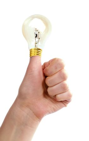 ponder: A thumb in the air with a light bulb on it.  A great idea.