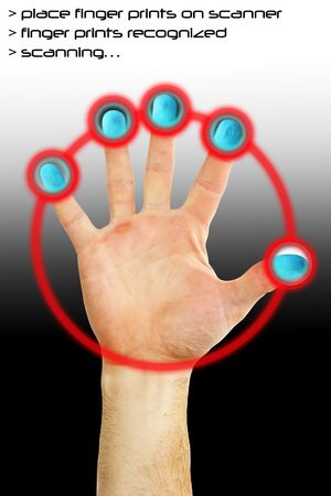 Fingers being scanned for their fingerprints. Security concept image. photo