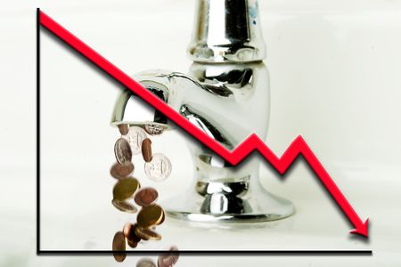 Money flowing out of a retro bathroom tap with a graph going down overlayed photo