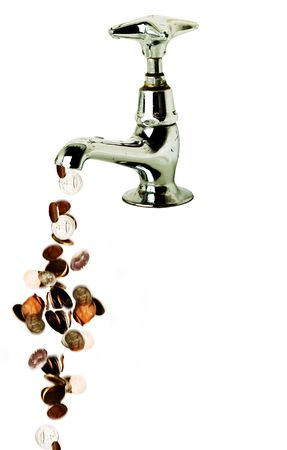 Money flowing out of a retro tap, isolated over white photo