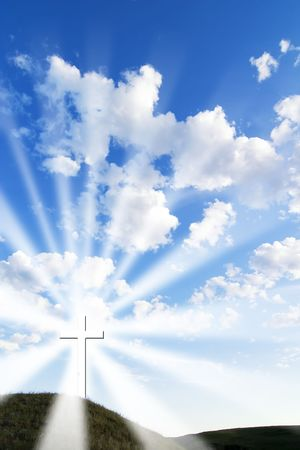 A glowing white cross on a hill. Stock Photo - 342312