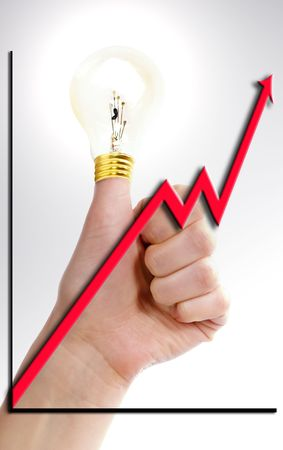 A thumb in the air with a light bulb on it (with lighting effects).  A great idea. Stock Photo - 342315